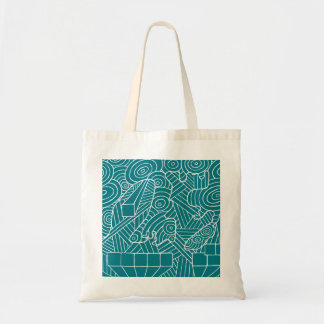 Maze of map tote bag with doodle pattern art