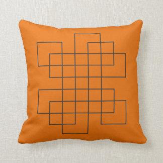 Maze Orange Throw Pillow
