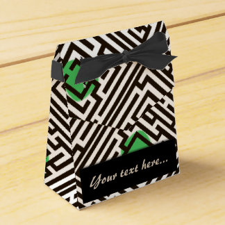 Maze Pattern with Green Dots Custom Text Party Favor Boxes
