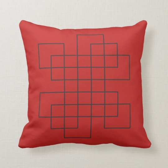 Maze Red Throw Pillow