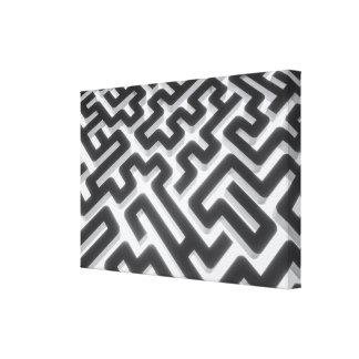 Maze Silver Black Canvas Print