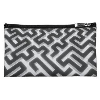 Maze Silver Black Cosmetic Bag