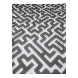 Maze Silver Black Duvet Cover