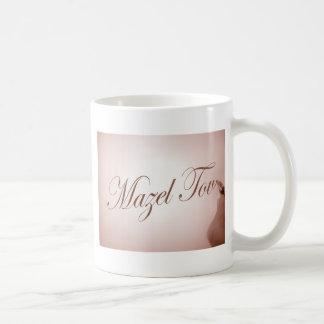 Mazel Tov in calligraphy handwriting in sepia tone Classic White Coffee Mug