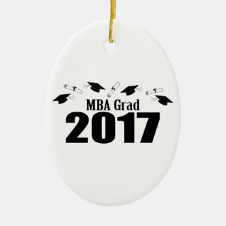 MBA Grad 2017 Caps And Diplomas (Black) Ceramic Ornament