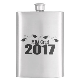 MBA Grad 2017 Caps And Diplomas (Black) Hip Flask