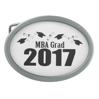 MBA Grad 2017 Caps And Diplomas (Black) Oval Belt Buckles