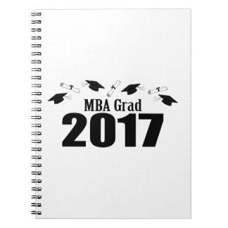 MBA Grad 2017 Caps And Diplomas (Black) Spiral Notebook