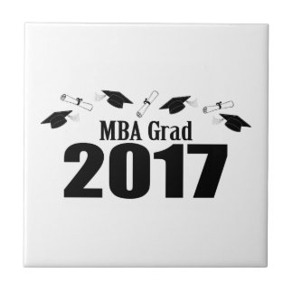 MBA Grad 2017 Caps And Diplomas (Black) Tile
