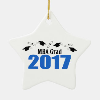 MBA Grad 2017 Caps And Diplomas (Blue) Ceramic Star Ornament