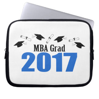 MBA Grad 2017 Caps And Diplomas (Blue) Laptop Sleeve