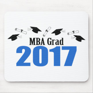 MBA Grad 2017 Caps And Diplomas (Blue) Mouse Pad