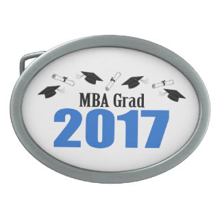 MBA Grad 2017 Caps And Diplomas (Blue) Oval Belt Buckle
