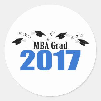 MBA Grad 2017 Caps And Diplomas (Blue) Round Sticker