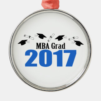 MBA Grad 2017 Caps And Diplomas (Blue) Silver-Colored Round Ornament