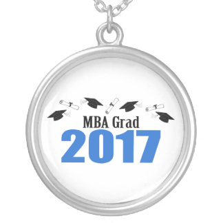 MBA Grad 2017 Caps And Diplomas (Blue) Silver Plated Necklace