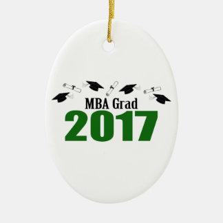 MBA Grad 2017 Caps And Diplomas (Green) Ceramic Oval Ornament