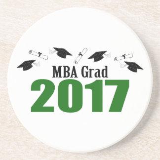 MBA Grad 2017 Caps And Diplomas (Green) Coaster