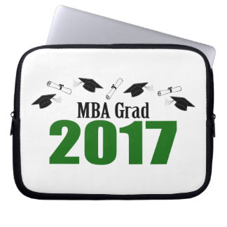MBA Grad 2017 Caps And Diplomas (Green) Laptop Sleeve