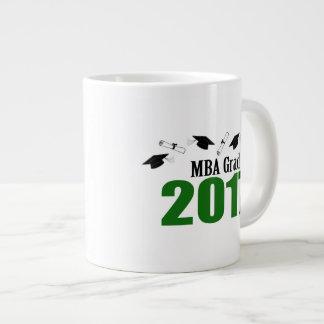MBA Grad 2017 Caps And Diplomas (Green) Large Coffee Mug