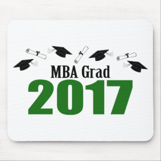 MBA Grad 2017 Caps And Diplomas (Green) Mouse Pad