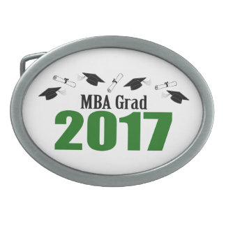 MBA Grad 2017 Caps And Diplomas (Green) Oval Belt Buckle