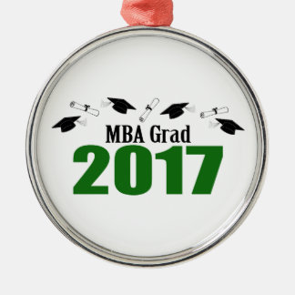 MBA Grad 2017 Caps And Diplomas (Green) Silver-Colored Round Ornament