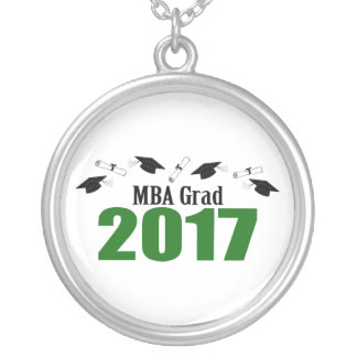 MBA Grad 2017 Caps And Diplomas (Green) Silver Plated Necklace