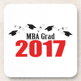 MBA Grad 2017 Caps And Diplomas (Red) Beverage Coaster