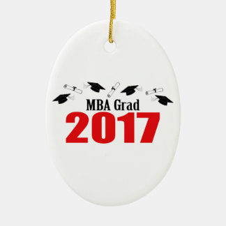 MBA Grad 2017 Caps And Diplomas (Red) Ceramic Oval Ornament