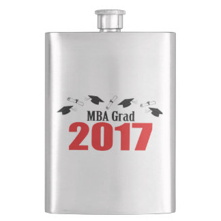 MBA Grad 2017 Caps And Diplomas (Red) Hip Flask