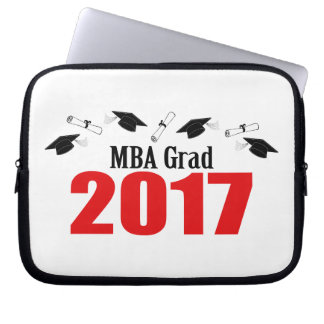 MBA Grad 2017 Caps And Diplomas (Red) Laptop Sleeve