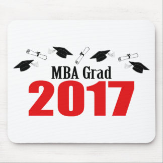 MBA Grad 2017 Caps And Diplomas (Red) Mouse Pad