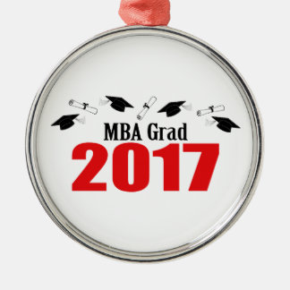 MBA Grad 2017 Caps And Diplomas (Red) Silver-Colored Round Ornament