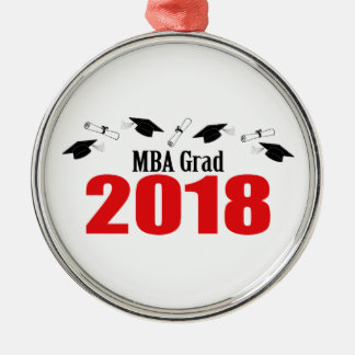 MBA Grad Caps And Diplomas 2018 (Red) Metal Ornament