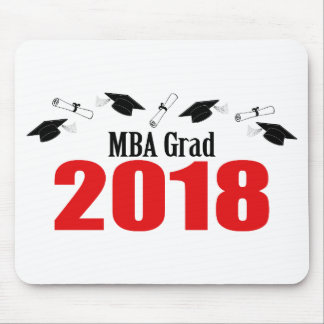 MBA Grad Caps And Diplomas 2018 (Red) Mouse Pad