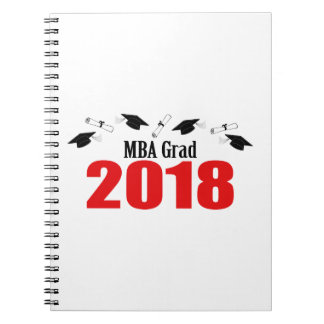 MBA Grad Caps And Diplomas 2018 (Red) Notebook