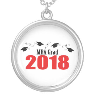 MBA Grad Caps And Diplomas 2018 (Red) Silver Plated Necklace