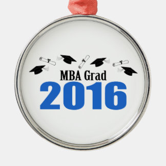 MBA Grad Class Of 2016 Caps And Diplomas (Blue) Metal Ornament