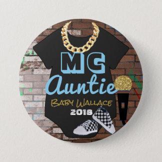 MC Auntie Hip Hop Boy Baby Shower Pinback Button