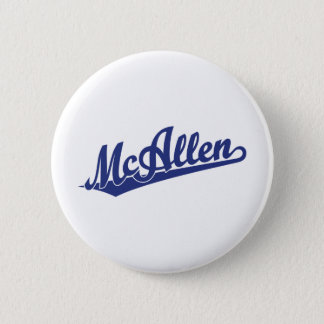 McAllen script logo in blue 2 Inch Round Button