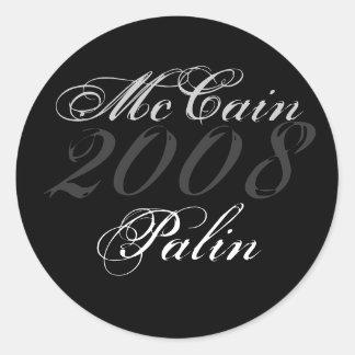 McCain, 2008, Palin Round Sticker