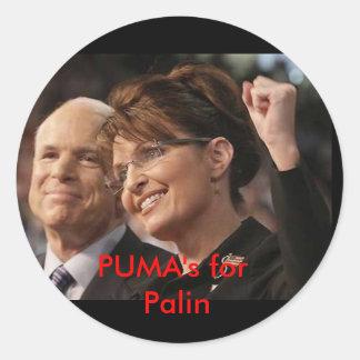 mccain and palin 2, PUMA's for Palin Round Sticker