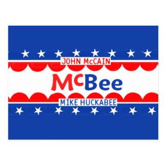 McCain Huckabee McBEE Postcard