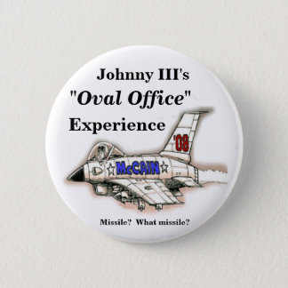 "McCain Jet plane cartoon, ""Oval Office"" , Exper... 2 Inch Round Button"