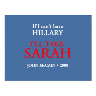 McCain Palin HILLARY Postcard