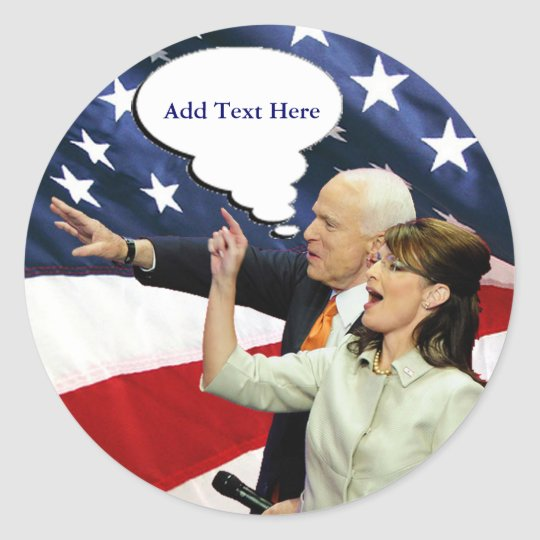 McCain Palin Speaks Classic Round Sticker