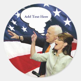 McCain Palin Speaks Round Sticker
