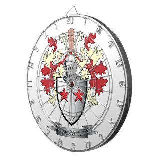 McCall Family Crest Coat of Arms Dartboard With Darts
