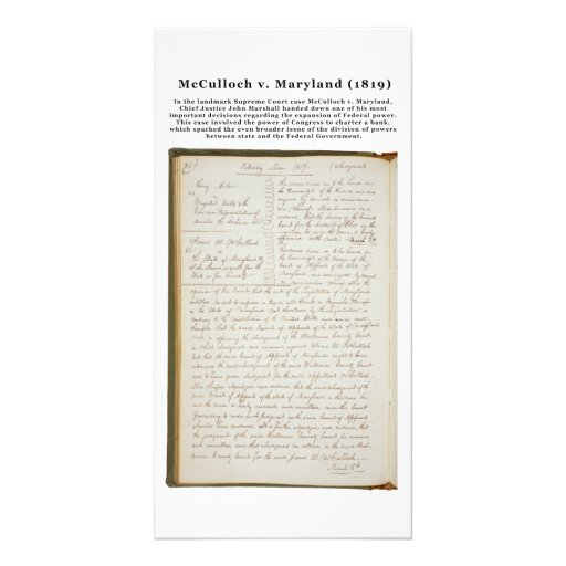 McCulloch v. Maryland, 17 U.S. 316 (1819) Picture Card